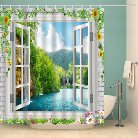 Spring Floral Window Scenery Shower Curtain