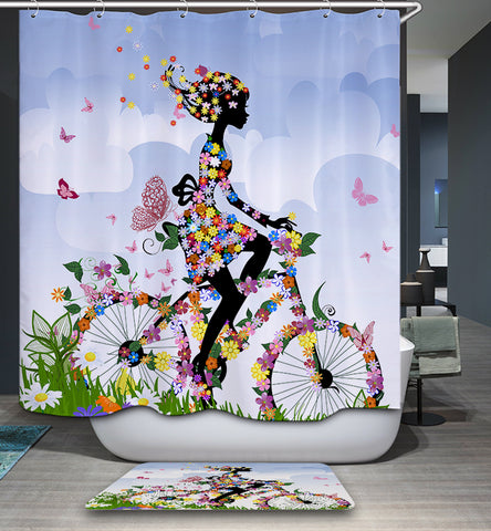Spring Flower Girl Riding Bicycle Shower Curtain