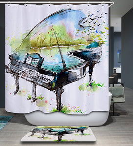 Spring Music Piano Shower Curtain