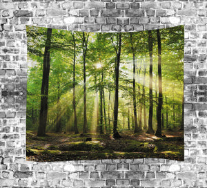 Spring Sunshine in Green Forest Tapestry | GoJeek