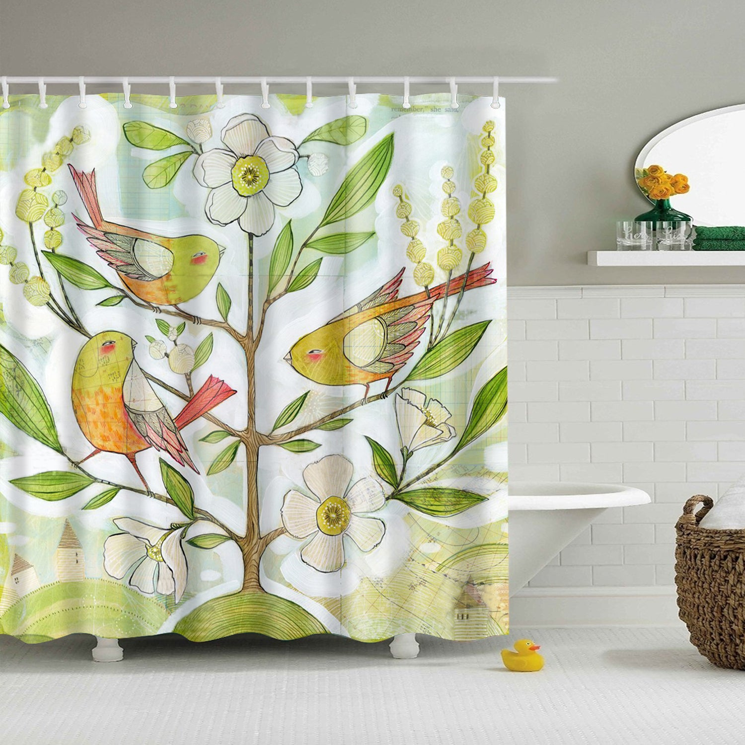 Spring Tree Fleece with Birds Shower Curtain
