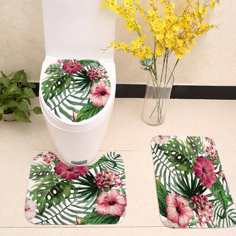 Spring Tropical Flowers Cactus Bathroom Rug Toilet Seat Mat Cover Accessories Decor