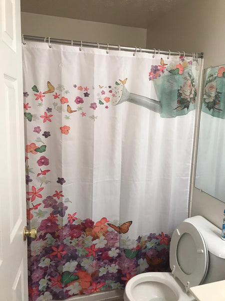 Spring Watering Cans Garden Shower Curtain