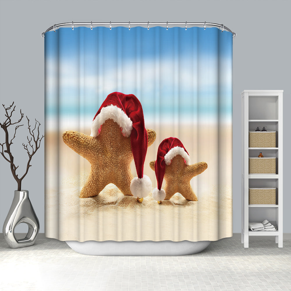 Starfish Wearing Christmas Hat Summer Beach Shower Curtain