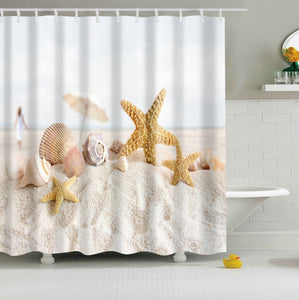 Starfish and Seashell on the Coastal Beach Shower Curtains | GoJeek
