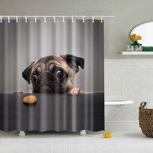 Staring At Cookie Pug Shower Curtain | GoJeek