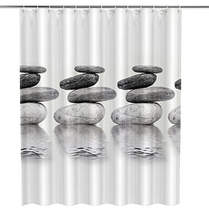 Stone Shower Curtain Grey Bath Decor | GoJeek