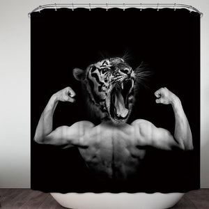 Strong Body with Tiger Head Manly Shower Curtain