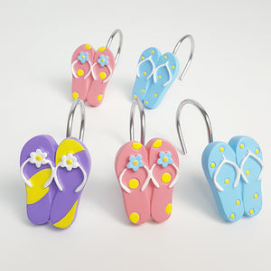 Summer Beach 12pcs Rings Colorful Flip Flop Shower Curtain Hooks
