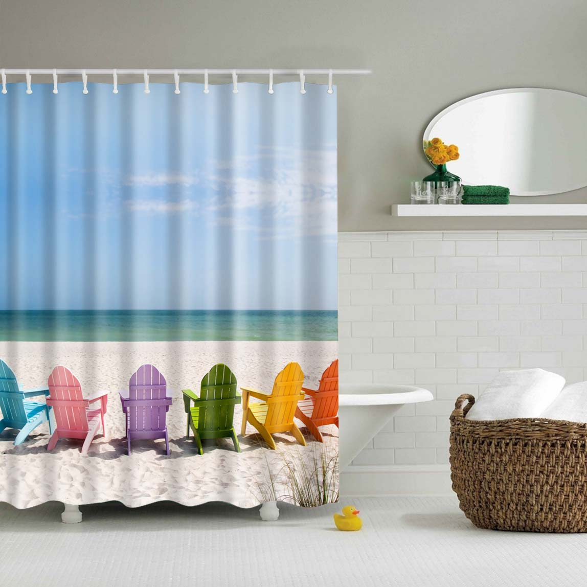 Summer Beach Colorful Chairs Shower Curtain | GoJeek