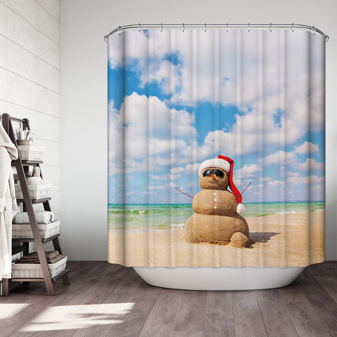 Summer Beach Sand Snowman Decoration Shower Curtain