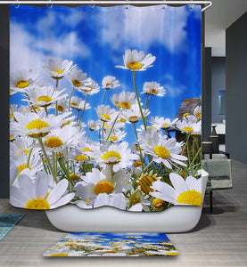 Summer Blue Sky Pure Daisy Shower Curtain