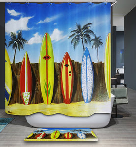 Summer Colorful Surfboard Shower Curtain