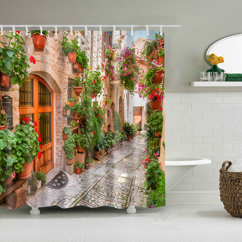 Summer Italy Narrow Street in Small Town Village Scenery Shower Curtain