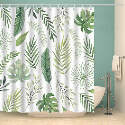 Summer Tropical Seamless Green Palm Floral Leaves Shower Curtain