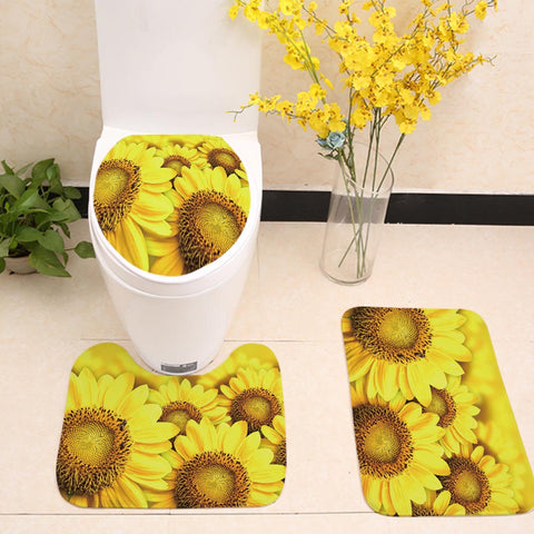 Summwer Yellow Sunflowers Toilet Seat Cover