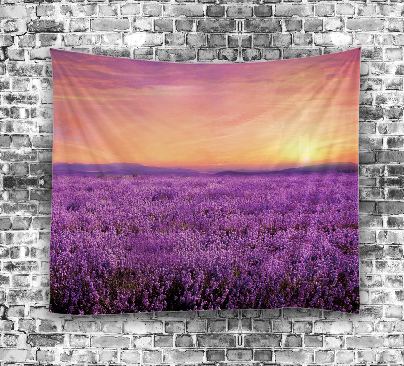 Sunrise Over Lavender Farm Field Tapestry