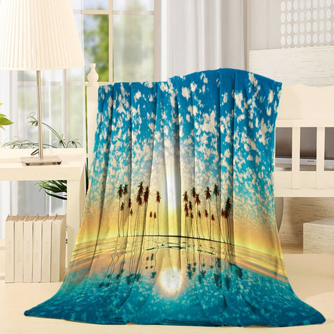 Sunset Beach with Palm Trees Horizon Throw Blanket