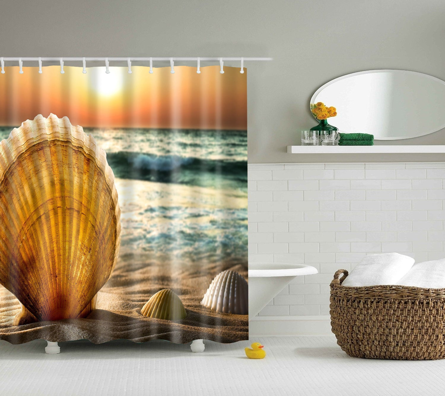 Sunset Coastal Seashell Fabric Shower Curtain | GoJeek