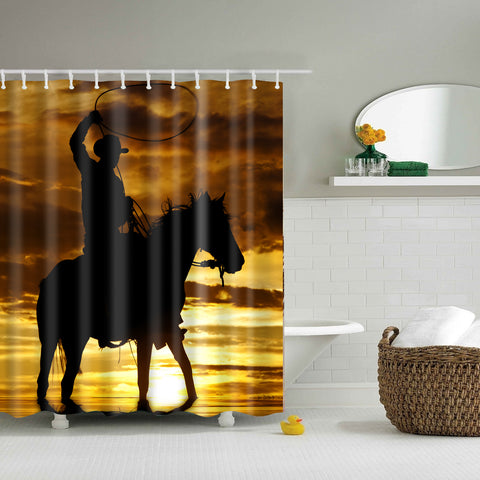 Sunset Cowboy with Horse Shower Curtain