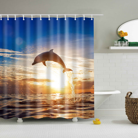 Sunset Sea Surface Dolphin Doccia Curtain | GoJeek