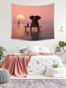 Sunset at Beach Elephant Dog Friendly Animal Tapestry