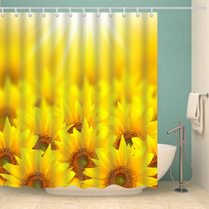 Sunshine Sunflower Field Nature Painting Shower Curtain