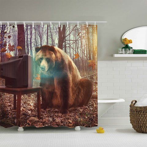 Surreal Wild Brown Bear Watching TV in Woods Shower Curtain