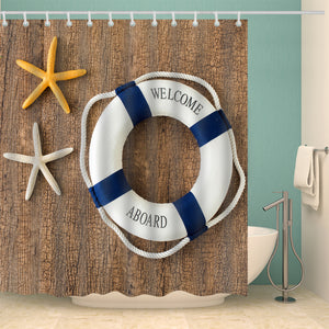 Swimming Ring Welcome Abroad Beach Shower Curtain
