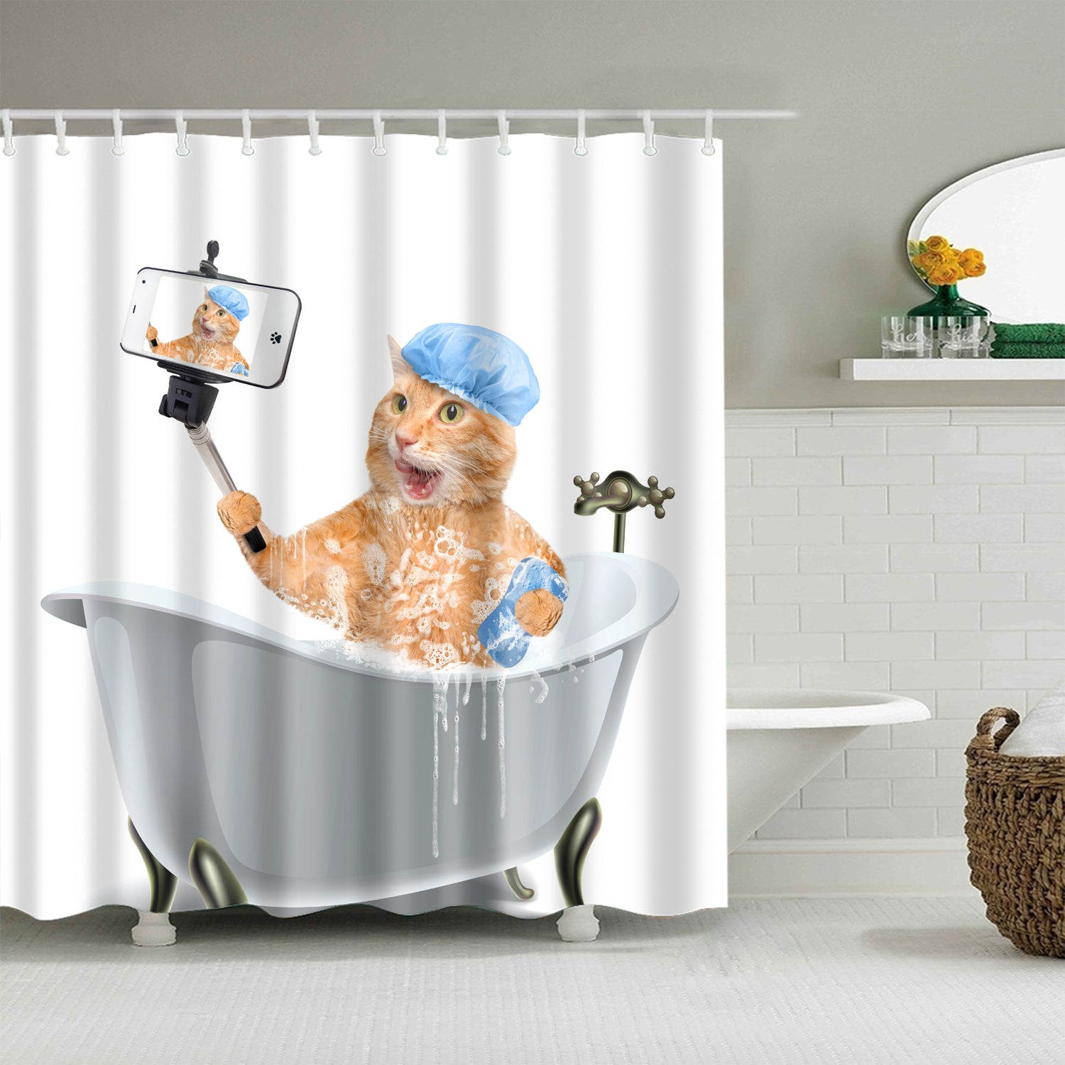 Take Selfie Bathing Ginger Cat Shower Curtain