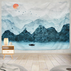 Tan Color Fisherman Chinese Painting Sun Mountain Tapestry