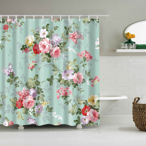 Teal Backdrop Pink Rose Flower Shower Curtain