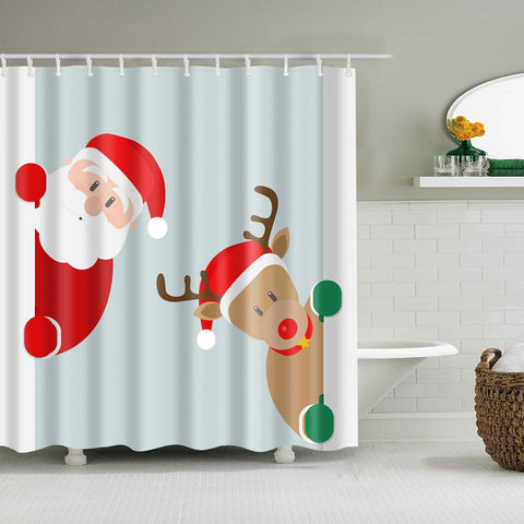 Teal Backdrop Santa con Reindeer Shower Curtain