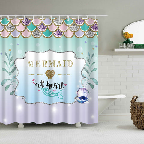 Teal Mermaid at Heart Scales Curtain Shower