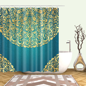 Teal And Golden European Pattern Circle Shading Shower Curtain