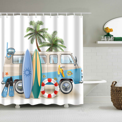 Teen Summer Diving Snorkeling Surfing Gear with Bus Surf Shower Curtain