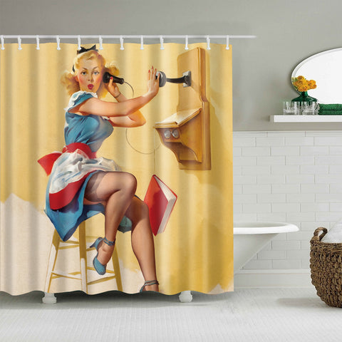 Telephone Pinup Maiden Girl Painting Shower Curtain