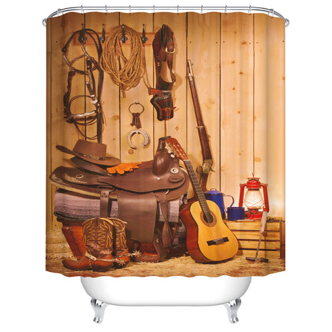 Texas Style Cowboy Rodeo Ranch Gear Western Themed Shower Curtain