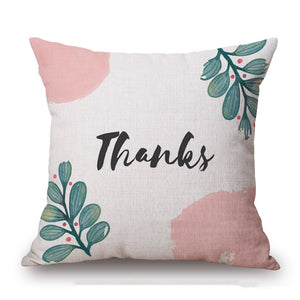Peach and Green Decorative Thanksgiving Day Throw Pillow Cover Sets