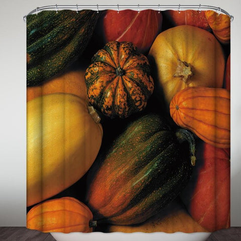 Thanksgiving Ribbed Orange Pumpkin Shower Curtain