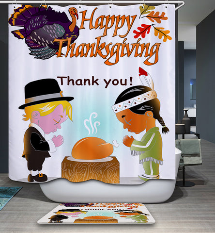Thanksgiving Traditions Thankful Behavior Shower Curtain