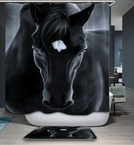 The Lover of Horse with White Blaze Portrait Black Horse Shower Curtain
