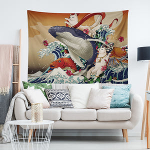 The Great Wave Off Kanagawa Cat Riding Whale Japanese Tapestry
