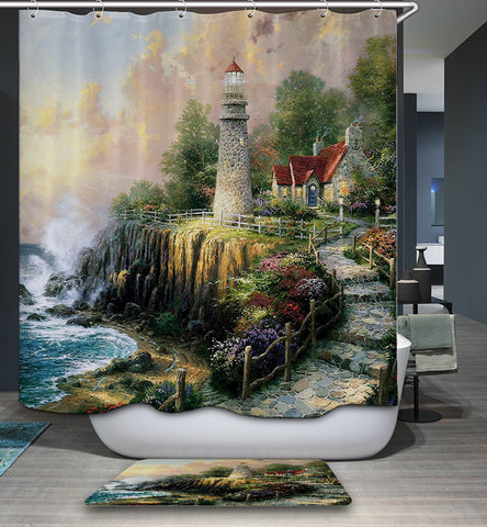 The Light of Peace Lighthouse Shower Curtain Bathroom Decor
