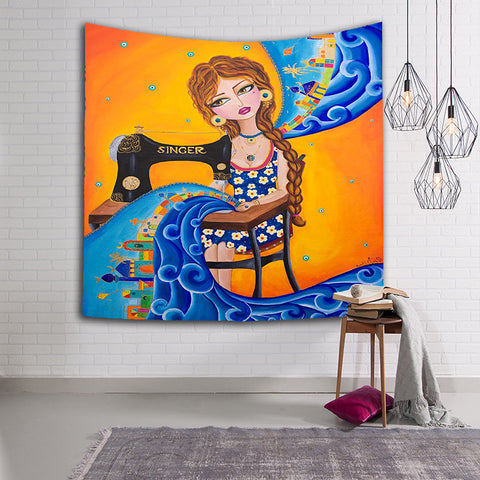 The Sewing Girl with Dreaming Surrealism Art Surreal Tapestry