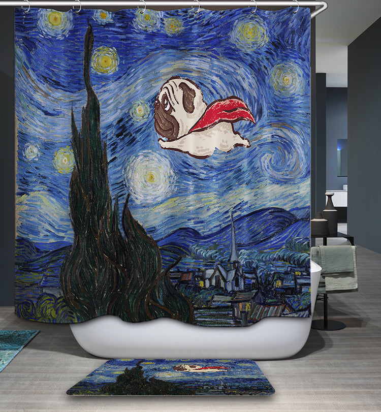 The Starry Night with Flying Pug Shower Curtain