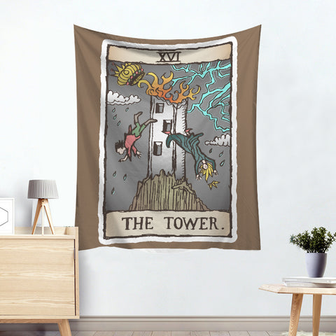 The Tower Colorful Divination Tarot Card Tapestry