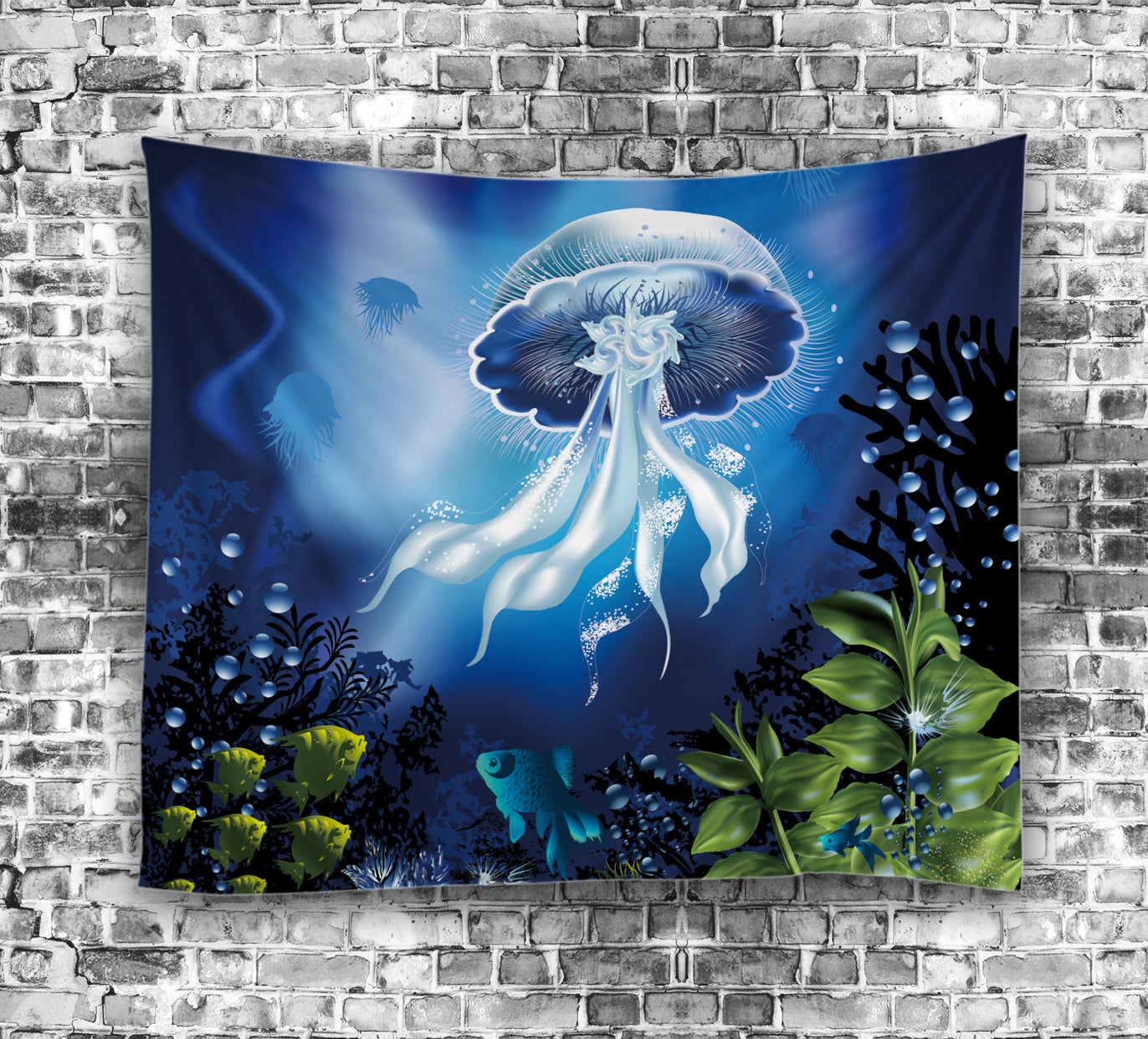 The Underwater World Jellyfish Plants Tapestry