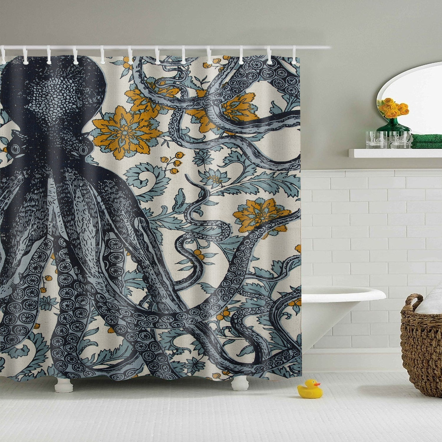 Thomas Paul Blue Octopus Fabric Polyester Shower Curtain