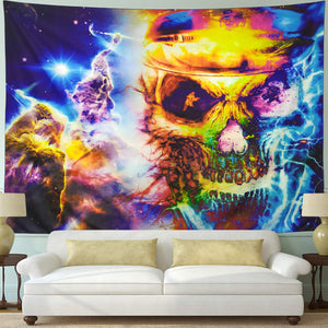 Tie Dye Psychedelic Colorful Gothic Skull Tapestry
